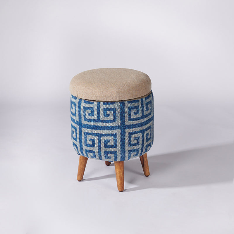 Maze Patterned Dhurrie Circular Storage Ottoman - Sihasn