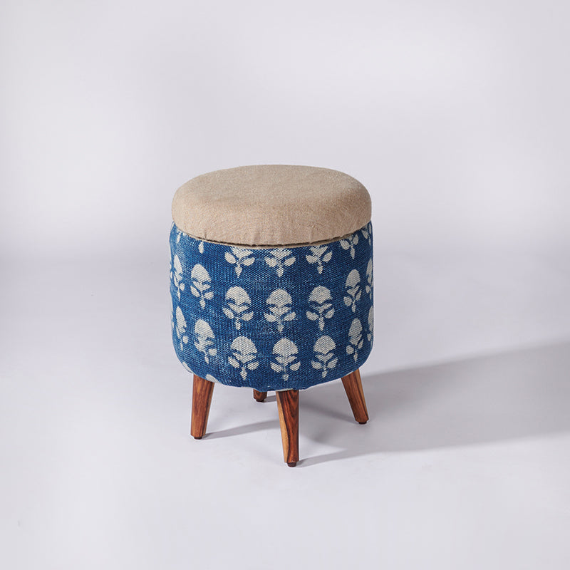 Floral Patterned Dhurrie Circular Storage Ottoman