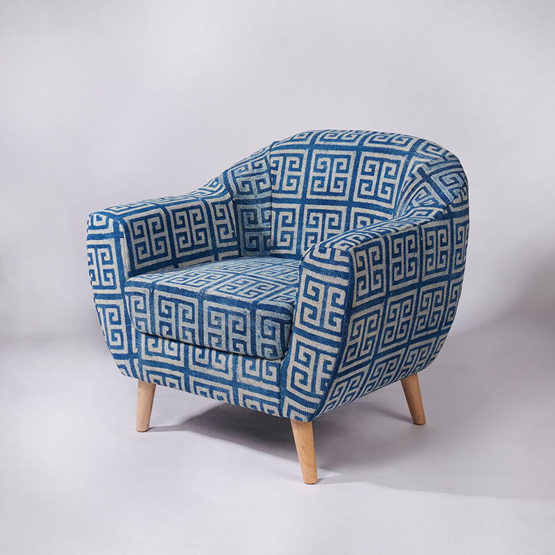 Maze Patterned Dhurrie Accent Chair - Sihasn