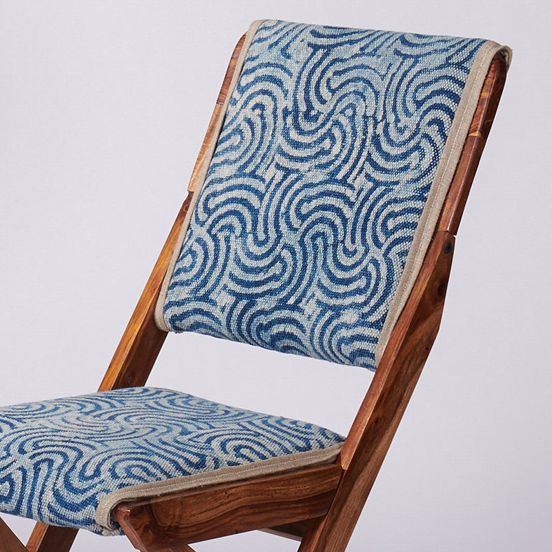 Spiral Patterned Dhurrie Folding Chair - Set of 2