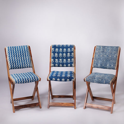 Trio of Floral Patterned Dhurrie Folding Chair + Spiral Patterned Dhurrie Folding Chair + Zigzag Patterned Dhurrie Folding Chair