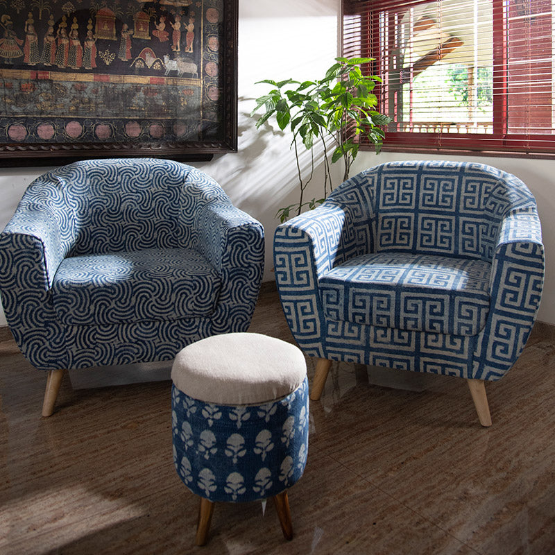 Spiral Patterned Dhurrie Accent Chair