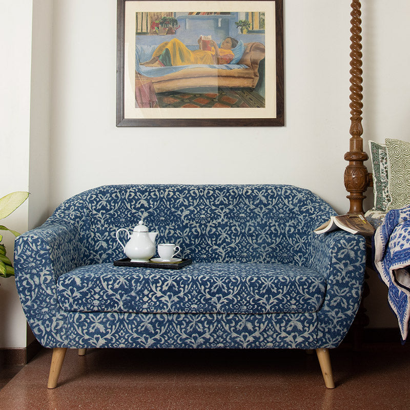 Ornate Patterned Dhurrie 2-Seater Loveseat