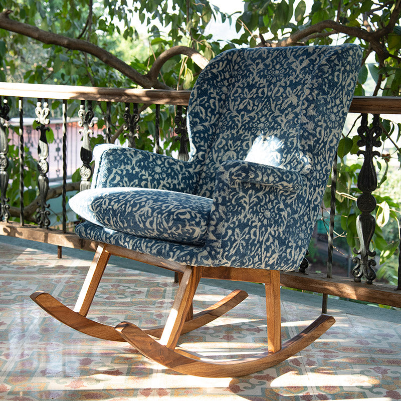 Ornate Patterned Dhurrie Rocking Chair