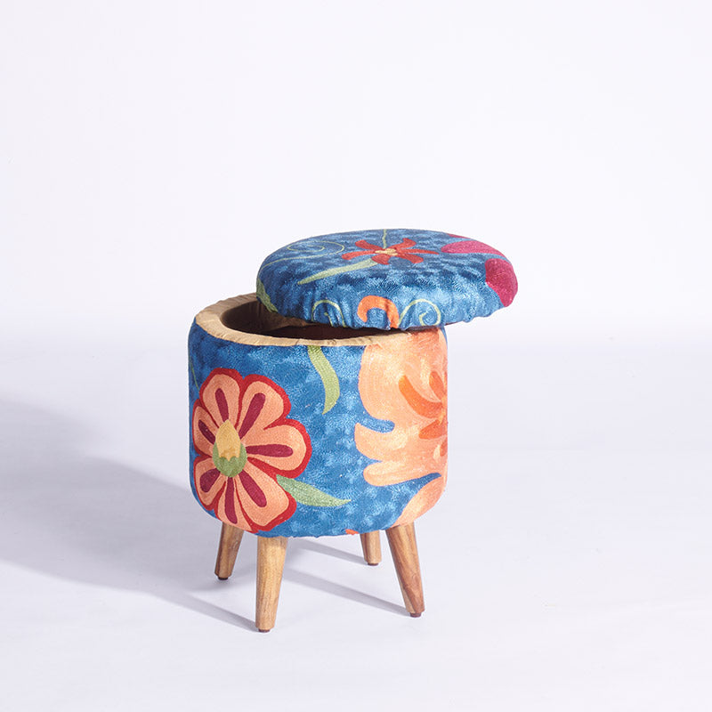 Blue-Orange Kashmiri Circular Storage Ottoman - Sihasn