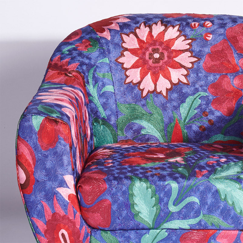 Blue-Pink Kashmiri Accent Chair - Sihasn