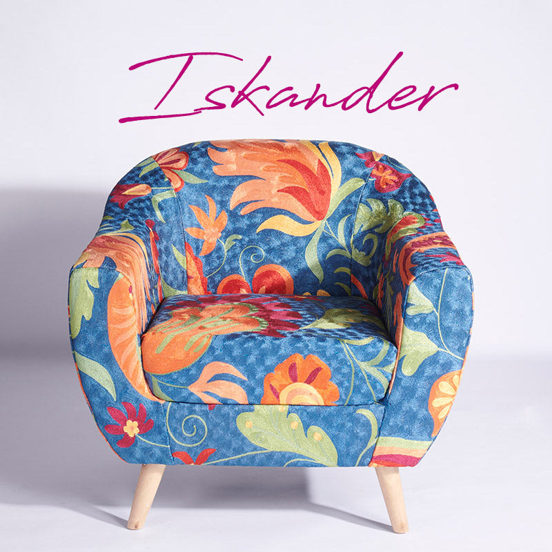 Blue-Orange Kashmiri Accent Chair - Sihasn