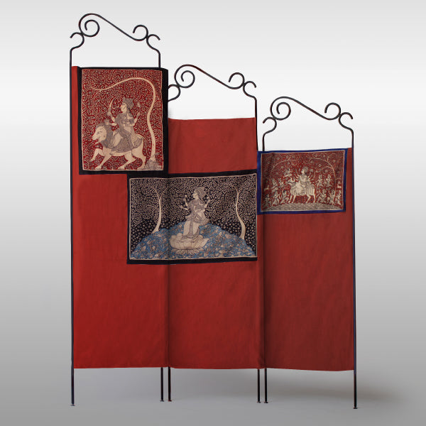 Jannat – Double-Sided Folding Fabric Screen, Room Divider in Mata ni Pachedi and Ajrakh