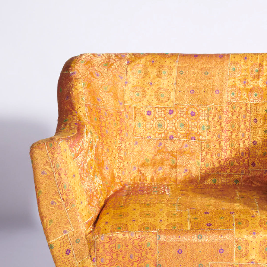 Yellow-Gold Benarasi Brocade Armchair Slipcover