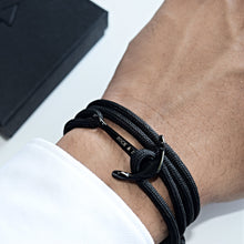 Laden Sie das Bild in den Galerie-Viewer, Armband Anker BLACK ON BLACK - ROCK & STEEL GERMANY