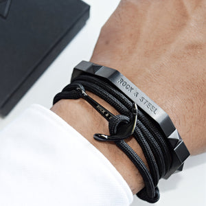 Armband Anker BLACK ON BLACK - ROCK & STEEL GERMANY