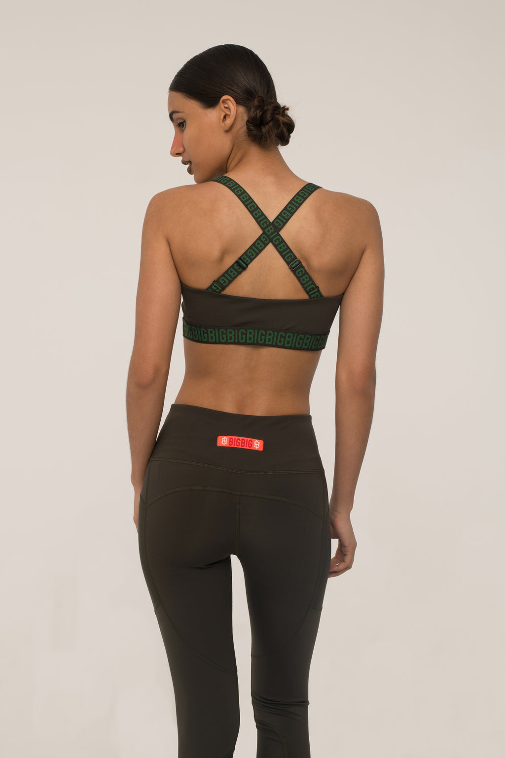 Cross-Backed Army Green Bra
