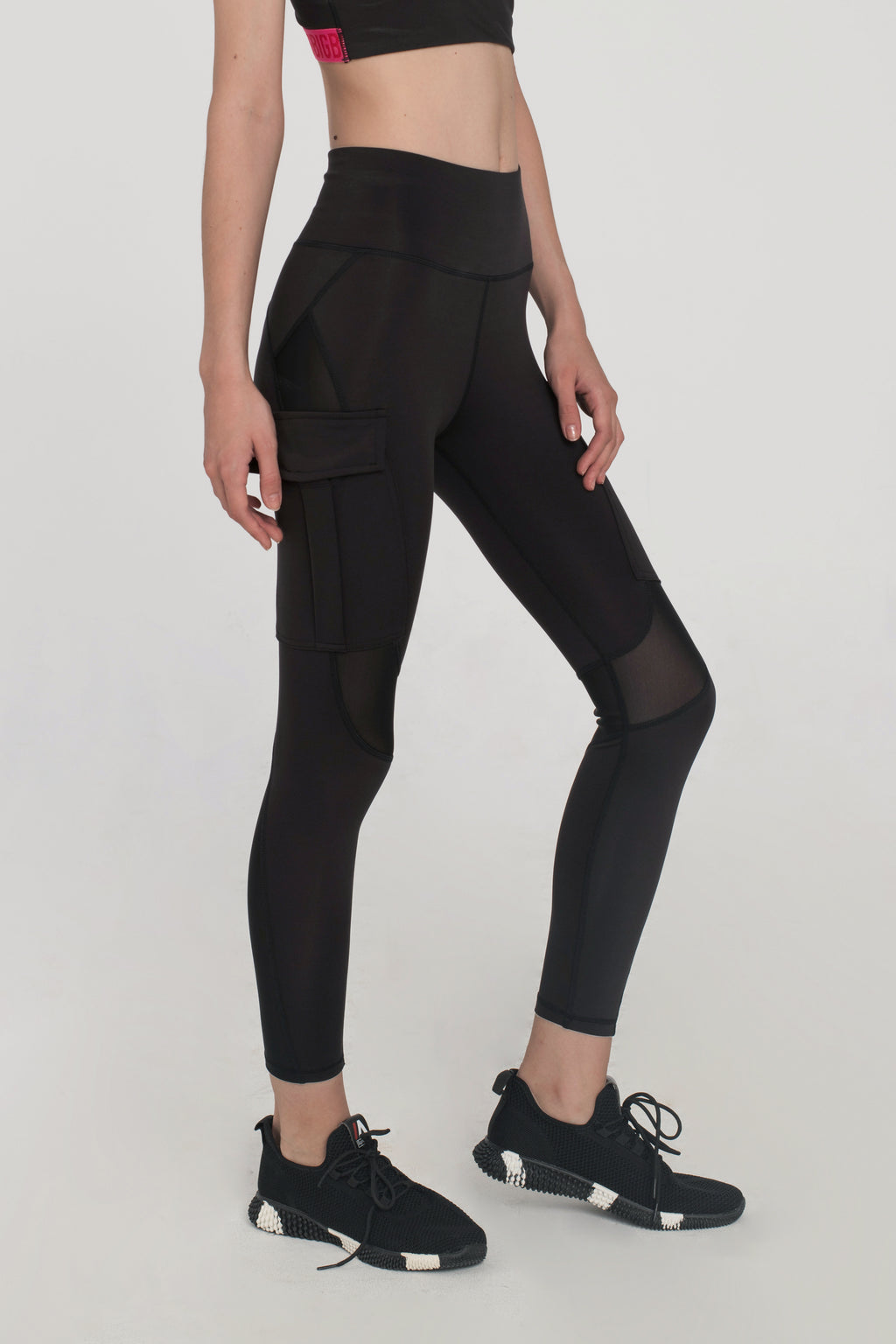 Black Mesh Utility Leggings