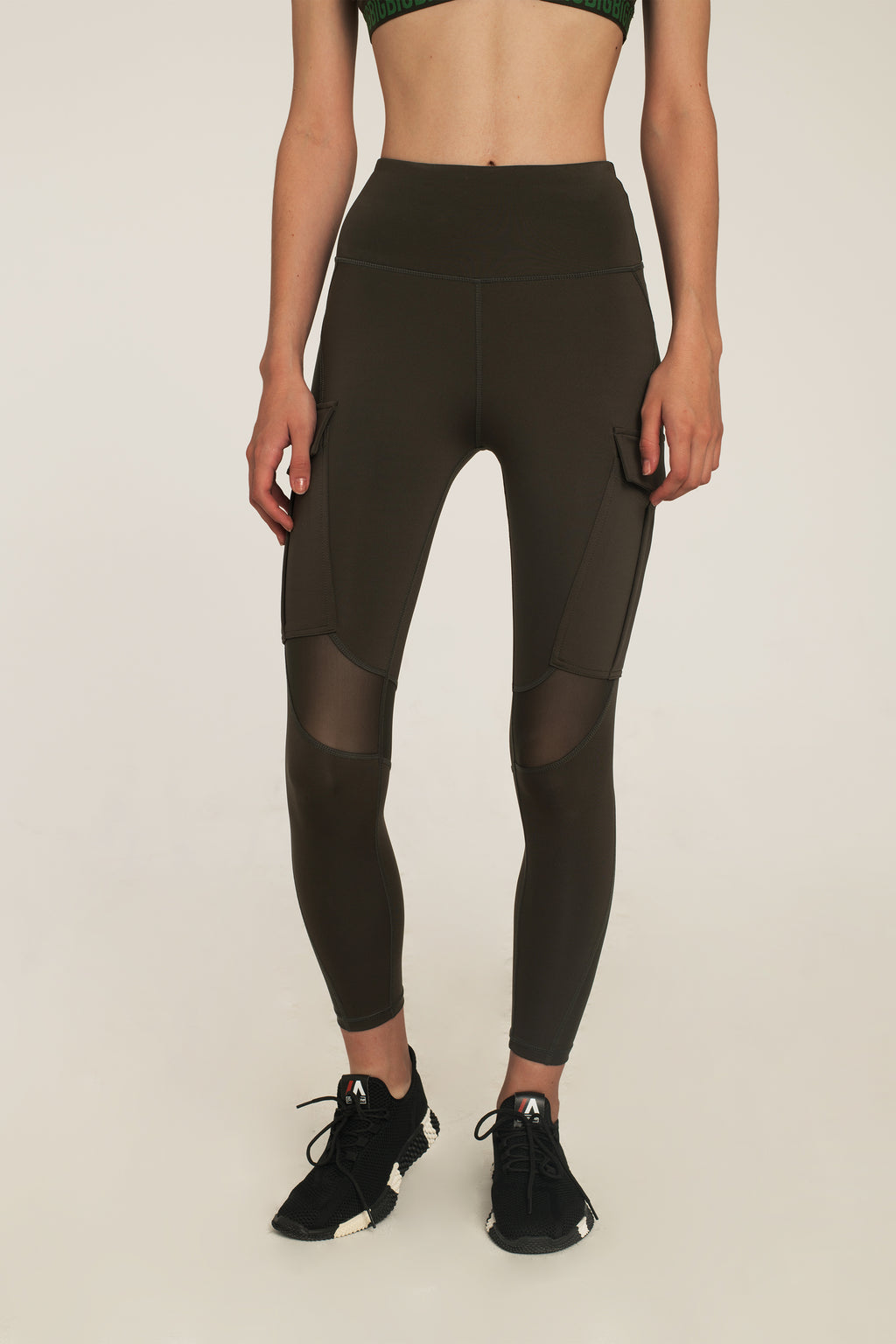 Army Green Mesh Utility Leggings