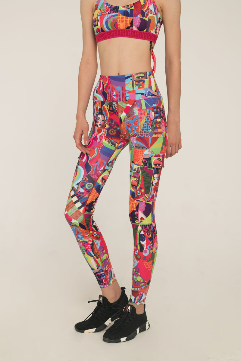 Makeup Print Utility Leggings