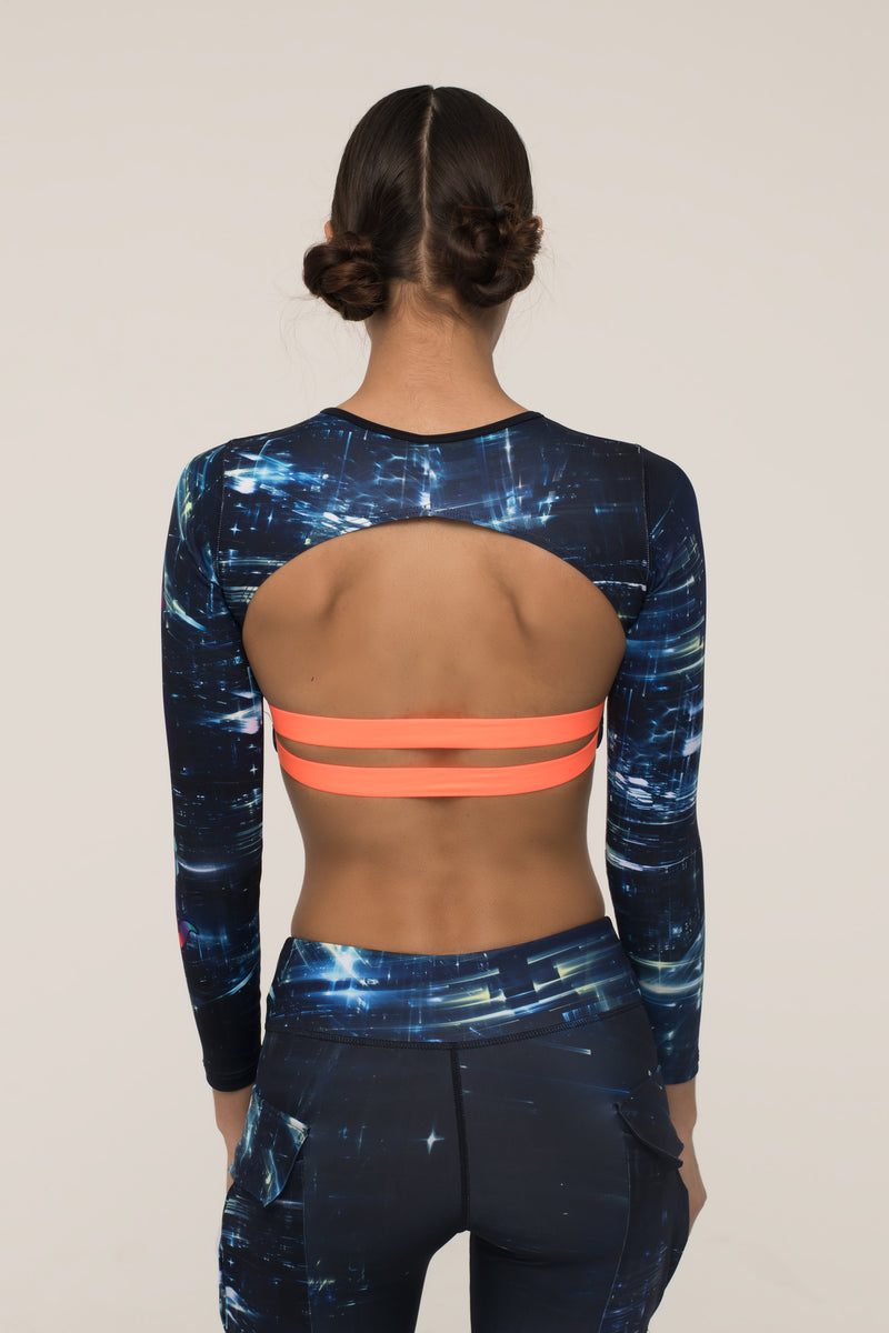 Space Graffiti Backless Crop Top