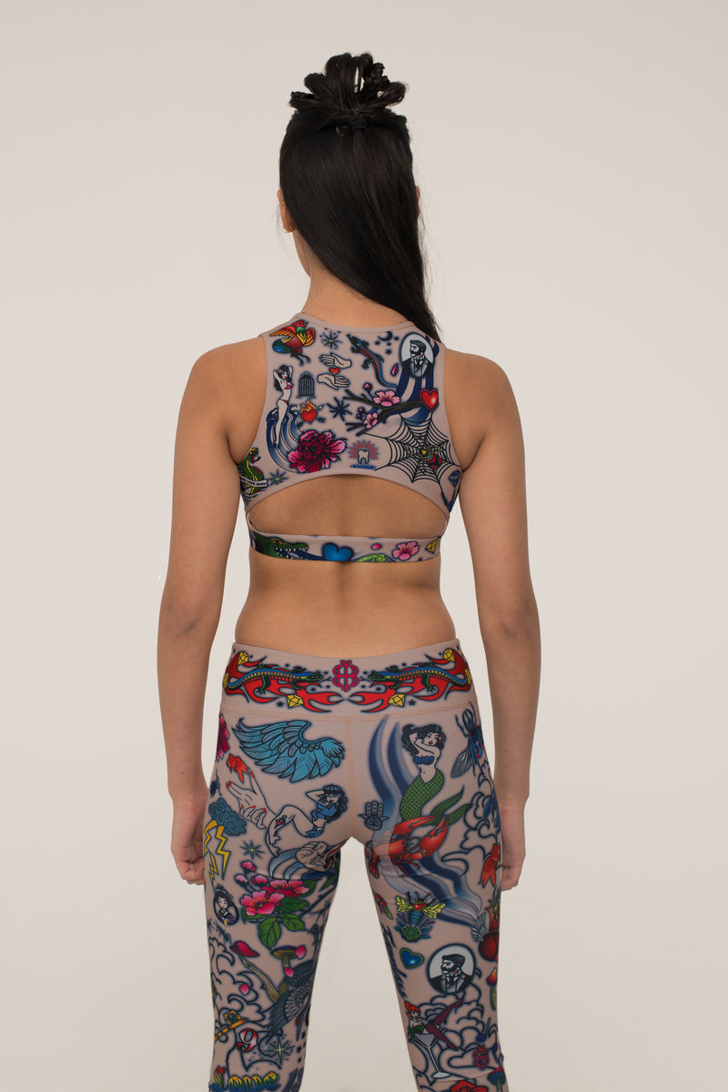 Tattoo Burst Crew Neck Bra