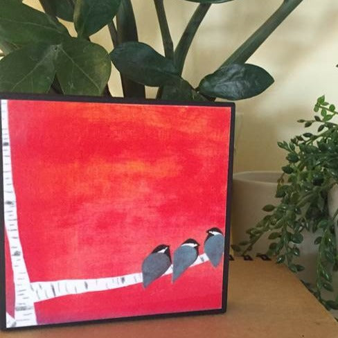 Red Chickadees Plaque