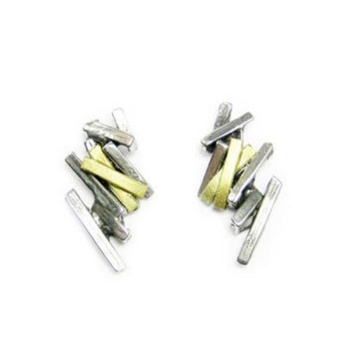 Studs, pewter with gld
