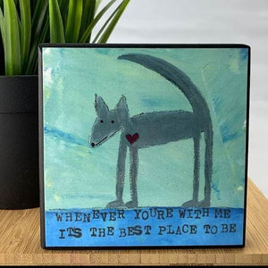Grey Dog Plaque