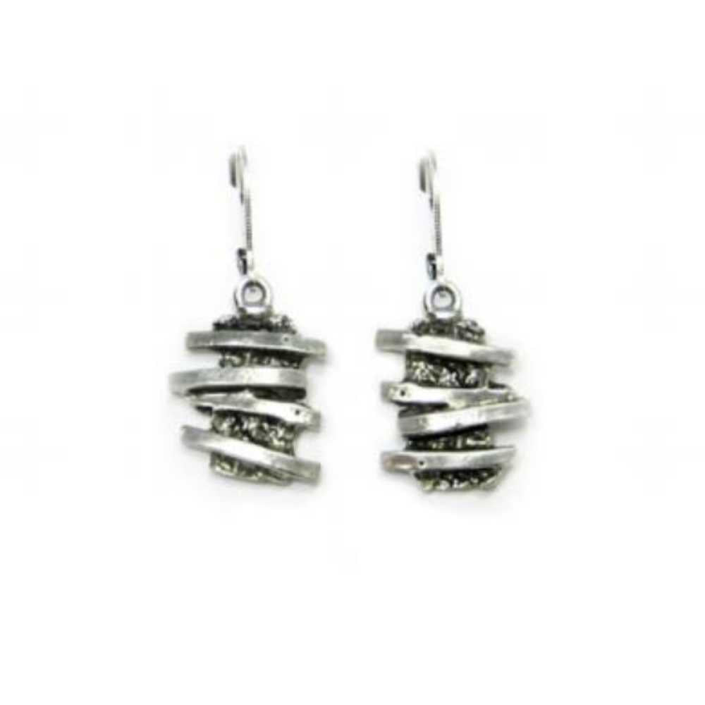 Earrings, pewter drops