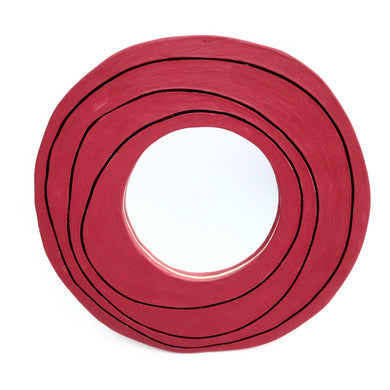 Modern Rose Wall Mirror, red