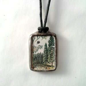 Bear/Tree reversible Pendant