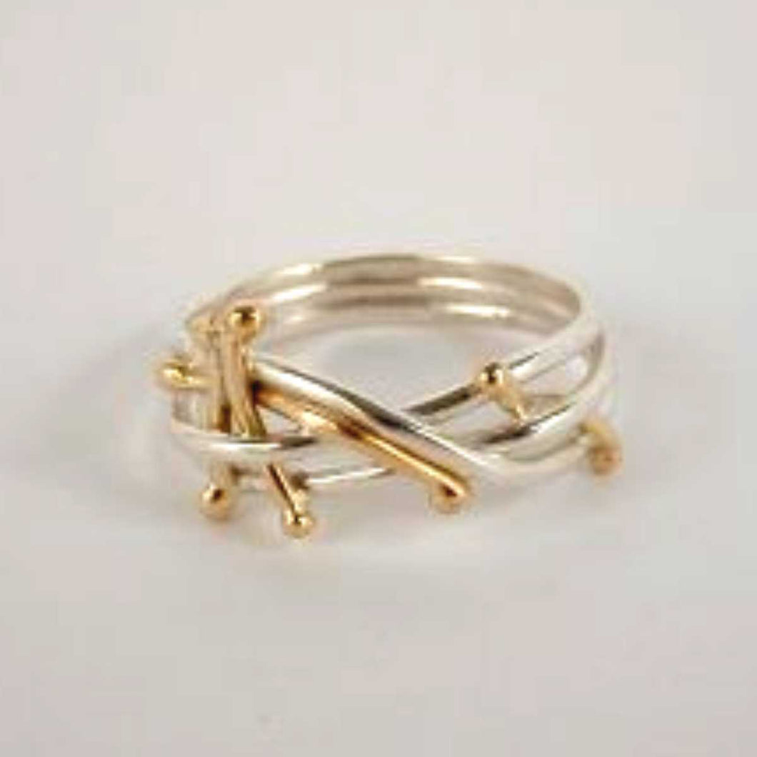 Twig Ring, SS/14k