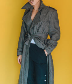 vintage grey coat - check pattern