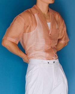 Salmon / Nude Pink / sheer polo shirt / short sleeves