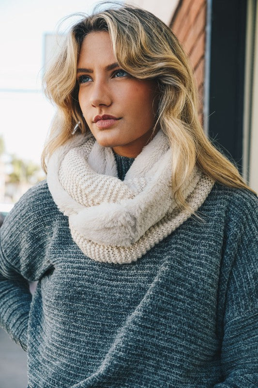 Knit Infinity Scarf with Faux Fur Lining