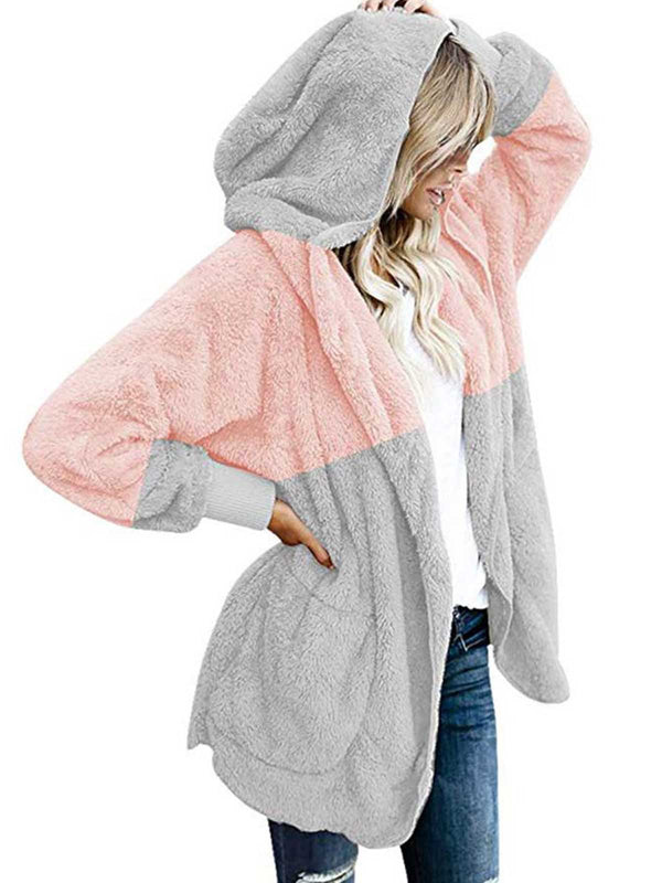 Hoodie Patchwork Long Sleeve Patch Coat