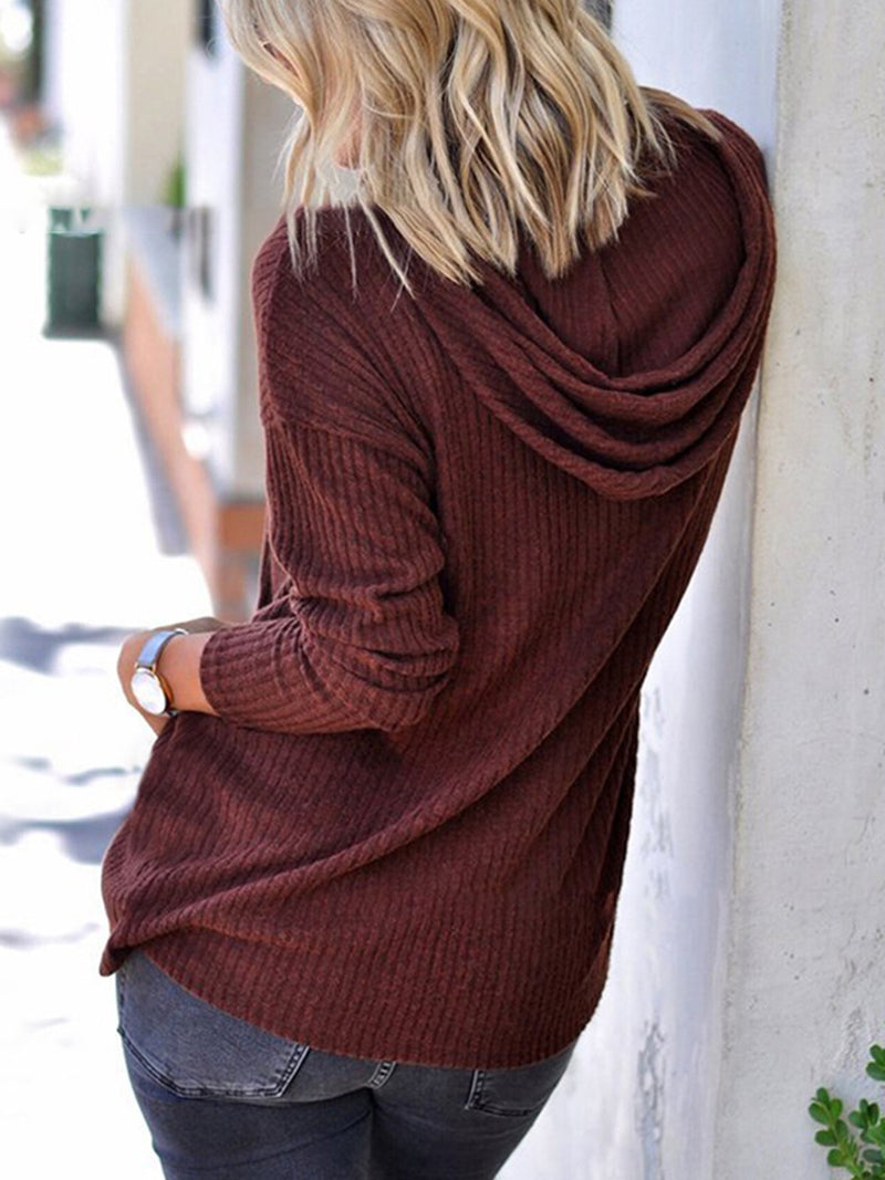 Casual Long Sleeve Knitted Solid Hoodie