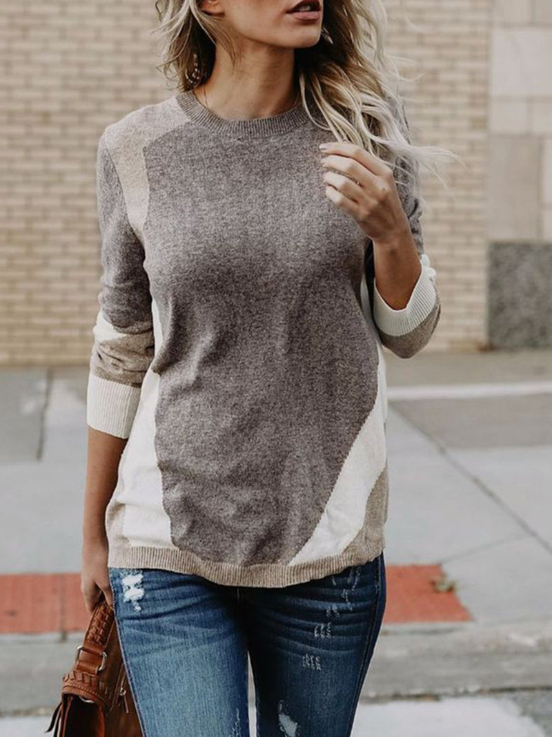 Casual Paneled Long Sleeve Sweater