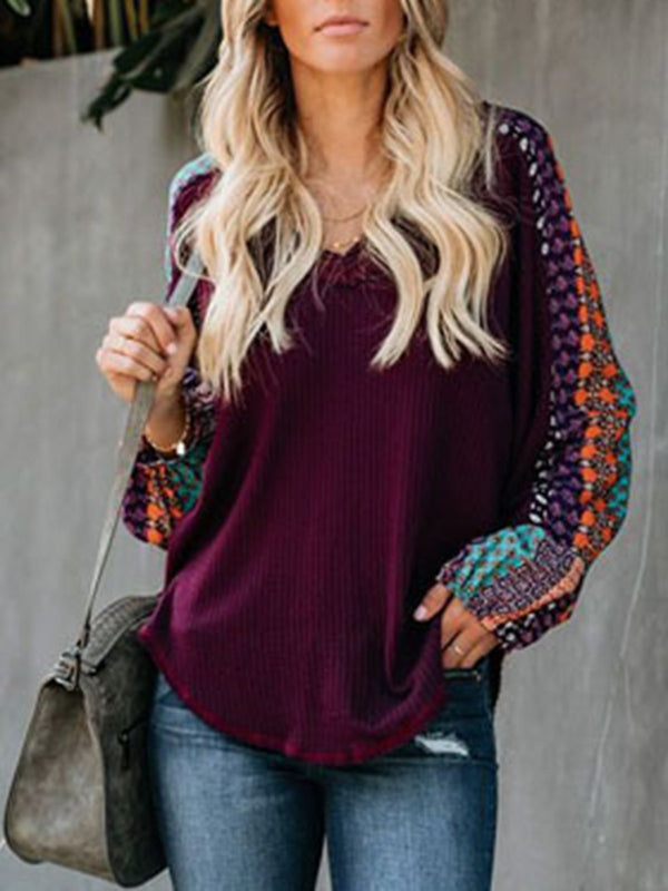 Casual V Neck Jumper Long Sleeve Sweater