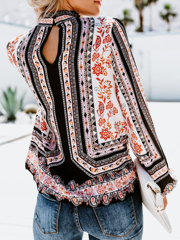 Casual Polyester Tribal Printed Blouses & Shirt