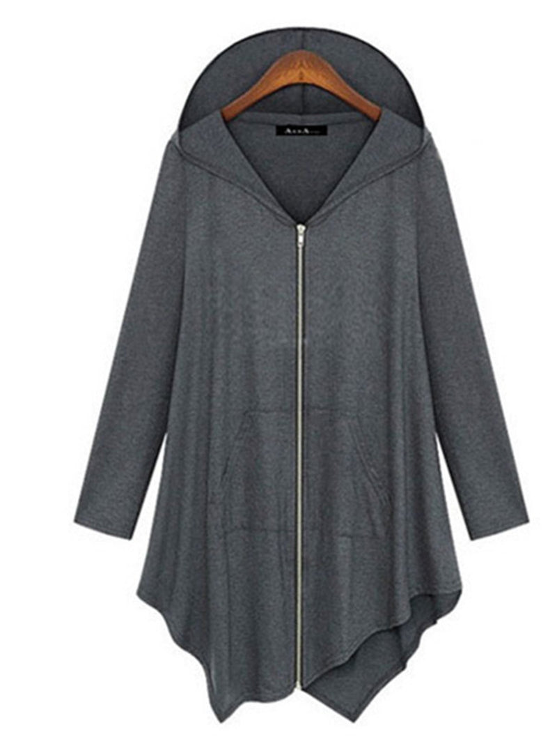 Casual Hoodie Asymmetric Zipper Long Sleeve Cardigan