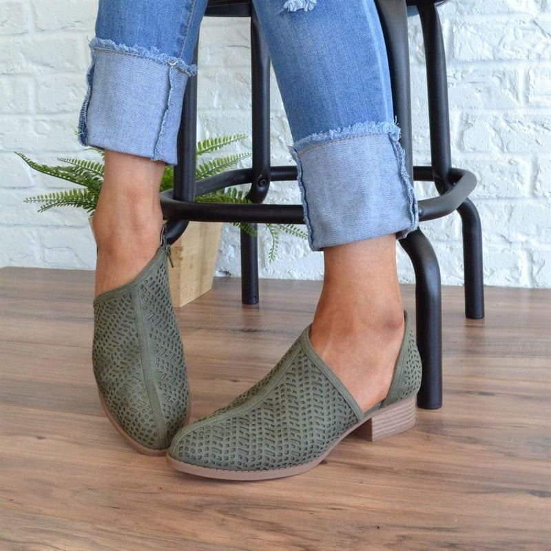 Casual Low Heel Round Toe Boots