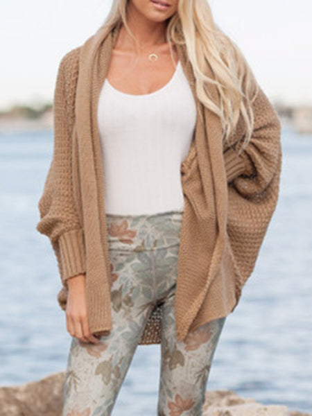Casual Solid Shift Knitted Sweater Cardigan
