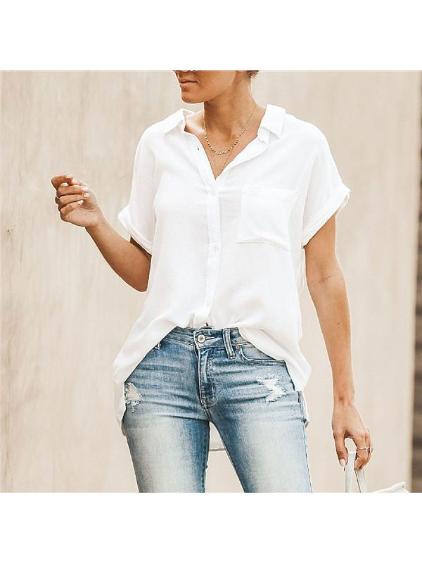 Plus Size Short Sleeve Shirt Collar Solid Blouse