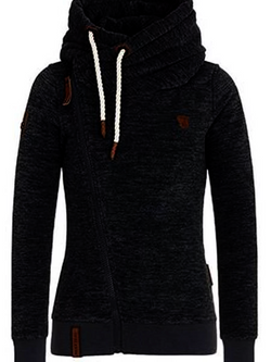 Turtleneck Inclined Zipper Solid Warm Sweatshirt