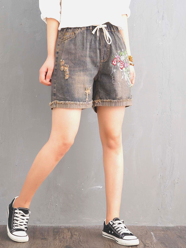 As Picture Casual Embroidered Pants