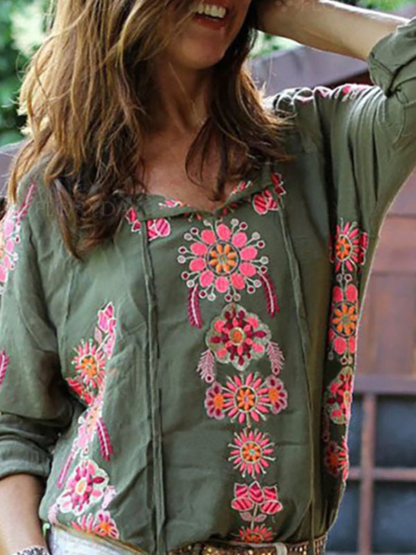 Green Color-Block Boho Blouses