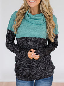 Cowl Neck Patchwork Casual Long Sleeve Color-block Hoodie
