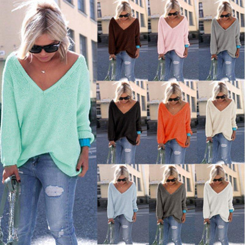 Candy Color V Neck Long Sleeve Knitted Slightly Stretchy Sweater
