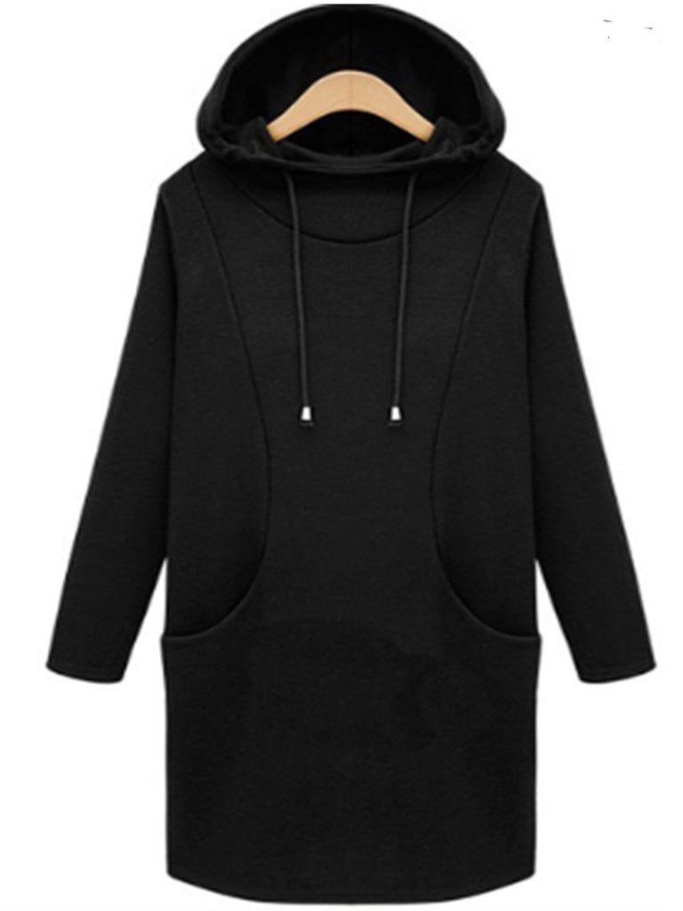 Casual Crew Neck Long Sleeve Large Size Pullover Velvet Hoodie