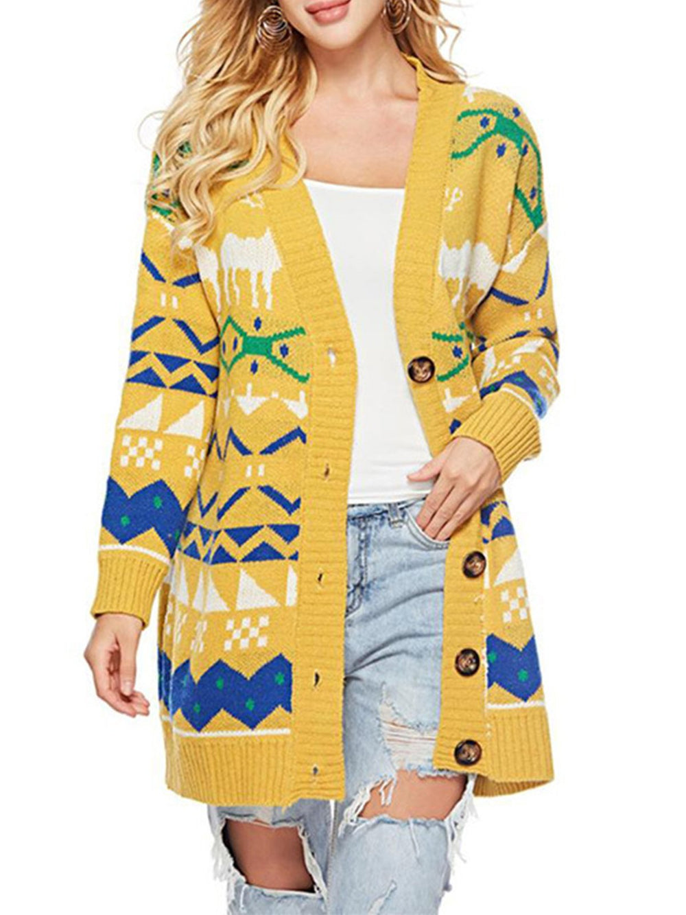 Christmas Abstract Casual Long Sleeve Knitted Slightly stretchy Coat
