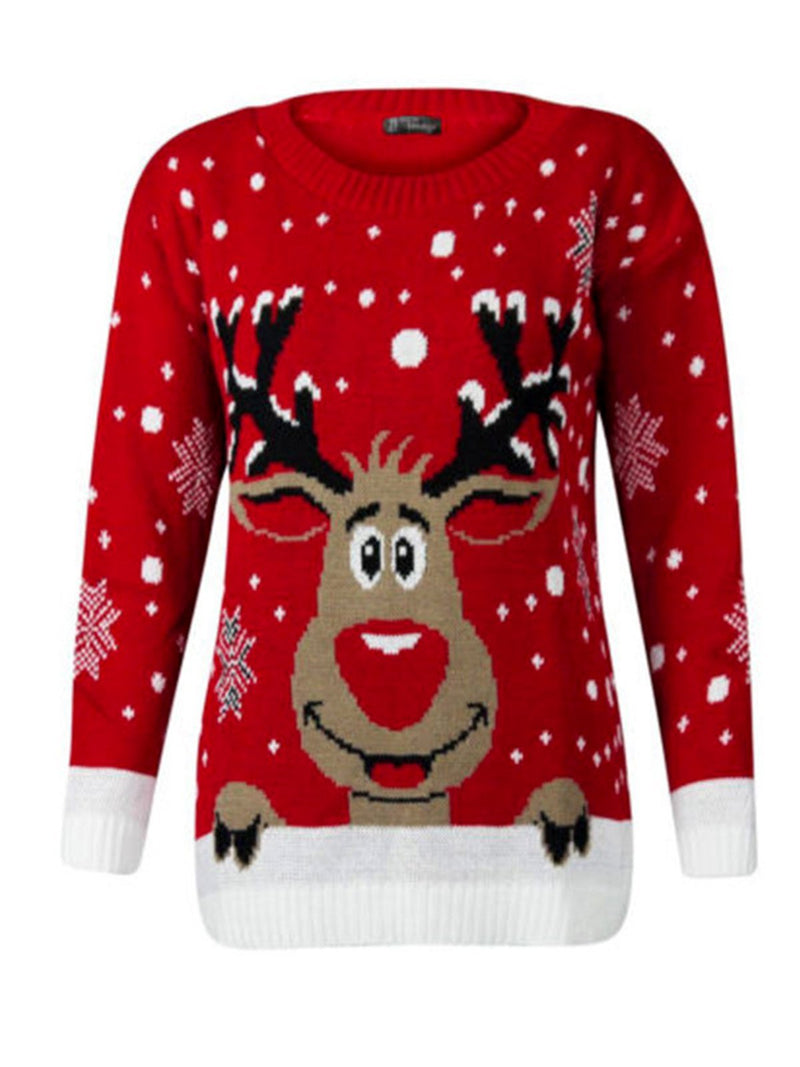Cute Christmas Knitted Crew Neck Long Sleeve Sweater