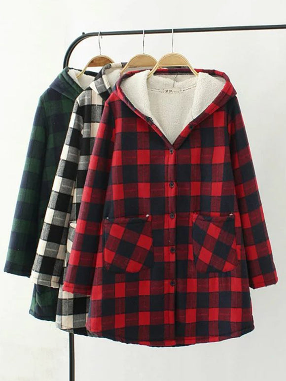 Casual Long Sleeve Hoodie Plaid Pockets Coat