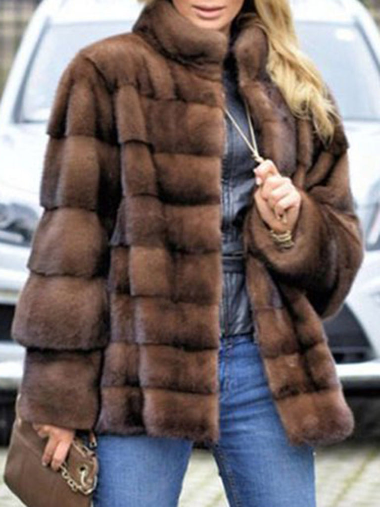 Faux Fur!!! Stand Collar Brown Plain Women Coat